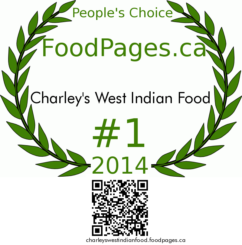 Charley's West Indian Food FoodPages.ca 2014 Award Winner