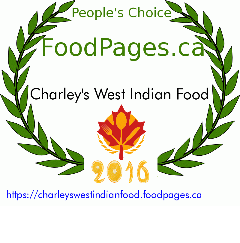 Charley's West Indian Food FoodPages.ca 2016 Award Winner